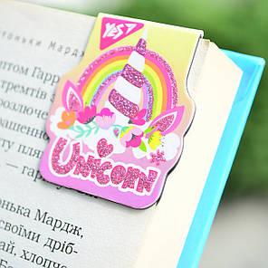 """Закладки """"Yes"""" магнітні """"Unicorn"""" висічка гліттер 1шт 706996, фото 2"""