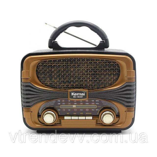 Ретро радіоприймач портативна Bluetooth колонка Kemali MD-1903BT Black-Brown