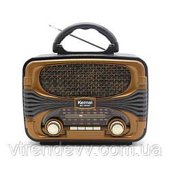 Ретро радиоприёмник портативная Bluetooth колонка Kemali MD-1903BT Black-Brown