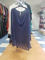 Туника женская синяя батальная с кружевом Sheego