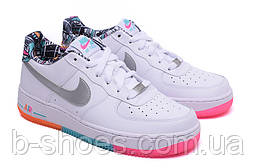 Женские повседневные кроссовки Nike Air Force 1  Low (White/Multicolored)