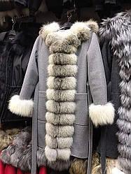 Пальто зимнее с мехом чернобурки