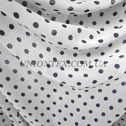 Ткань шифон принт горох синий на белом, фото 2