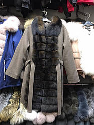 Пальто зимнее с мехом финского песца БАТАЛ