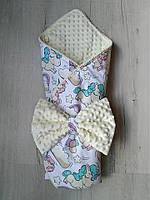 Конверт-одеяло для новорожденных Единорожки, польский хлопок, плюш, синтепон