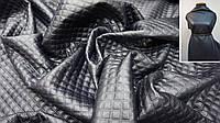 Искусственная кожа стеганная Ромб темно синяя   Экокожа для одежды, фото 1