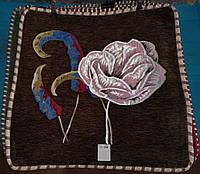 Декоративная наволочка с вышивкой из гобелена 60х60 см