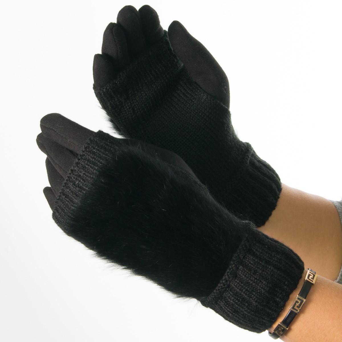Текстильные женские перчатки-митенки с вязкой и вставкой с натурального меха черные (арт. 19-F10-1) S
