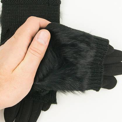 Текстильные женские перчатки-митенки с вязкой и вставкой с натурального меха черные (арт. 19-F10-1) S, фото 3