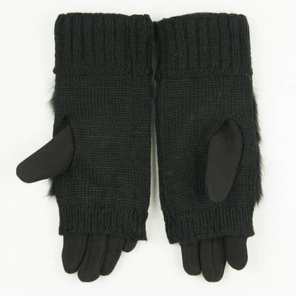 Текстильные женские перчатки-митенки с вязкой и вставкой с натурального меха черные (арт. 19-F10-1) S, фото 2