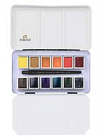 Набор акварельных красок REMBRANDT Landscape 12 кювет + кисть в металлическом пенале 05838695