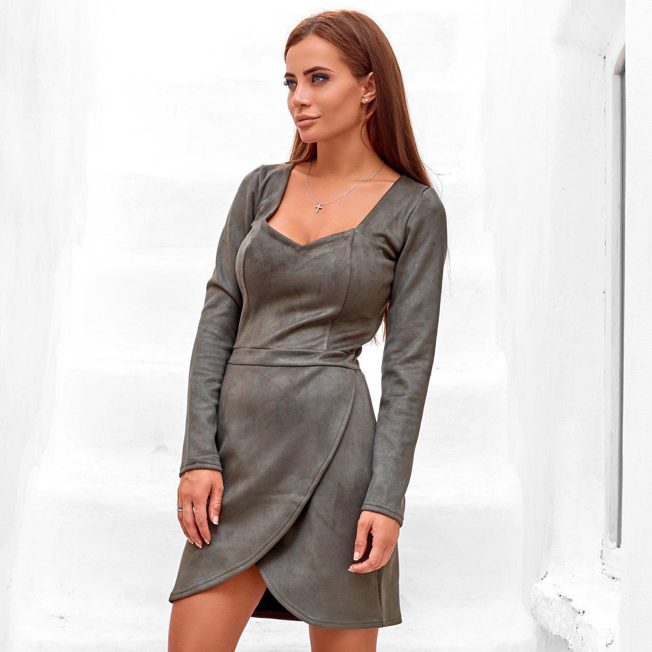 Жіноче замшеве міні сукня хакі