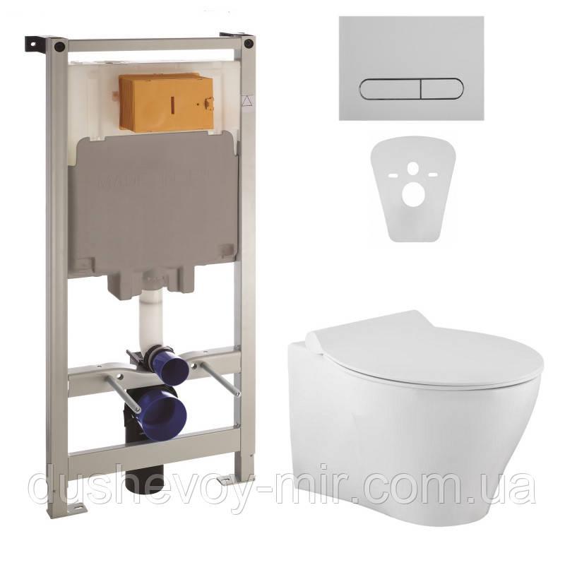 Комплект: IBERIA Rimless Унитаз подвесной, сиденье Slim slow-closing (550*355*400)+Комплект инсталляции Volle Master4в1 (хром)