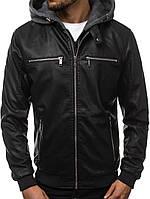 Мужская кожаная куртка бомбер демисезонная черная с капюшоном, фото 1