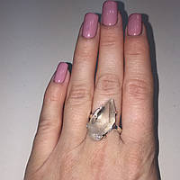 Кольцо с горным хрусталем кольцо натуральный горный хрусталь в серебре 19 размер Индия в кредит 0%