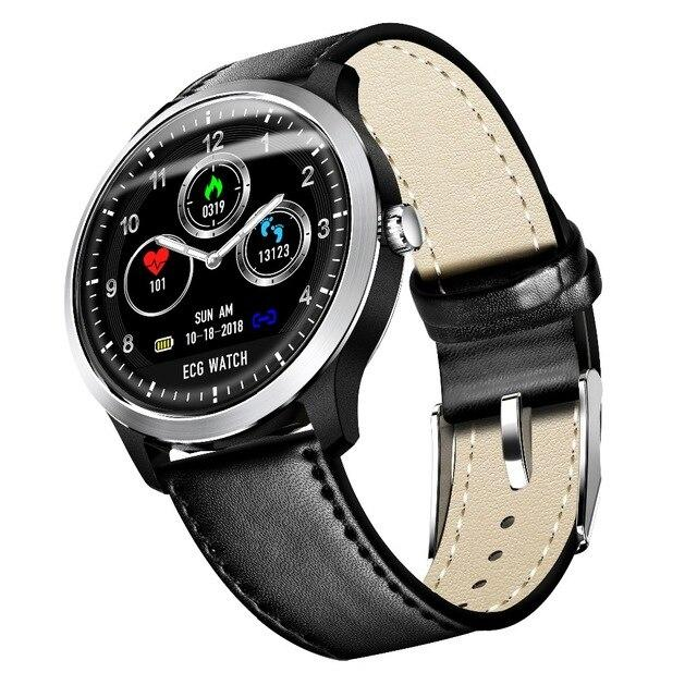 Часы N58 с тонометром и ЭКГ + дополнительный ремешок - Серебряный, черный кожаный ремешок