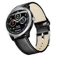 Часы N58 с тонометром и ЭКГ + дополнительный ремешок - Серебряный, черный кожаный ремешок, фото 1