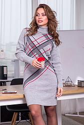 Вязаное теплое платье «Клетка»