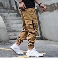 Джогеры с карманами, мужские брюки, штаны, плотные (горчица)
