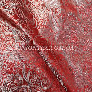 Ткань парча орнамент серебро на красном