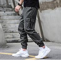 Джогеры с карманами, мужские брюки, штаны, джинсы (серо-зеленые)