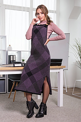 Теплое платье-сарафан в клетку «Хлоя»