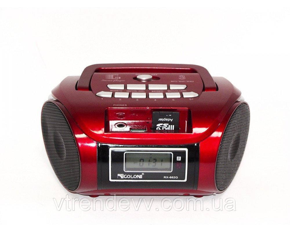 Радиоприёмник портативная колонка Golon RX-662Q USB+SD Красный