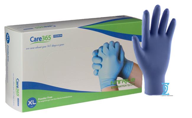 """Перчатки нитриловые синие """"Сare365"""" (XL)"""