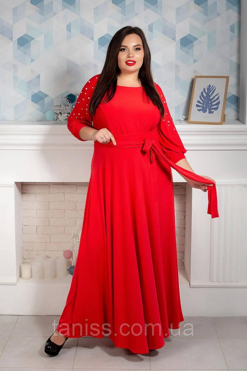 Ошатне довге плаття великого розміру, микродайвинг, обробка перли, р. 52,54,56,58,60 червоне