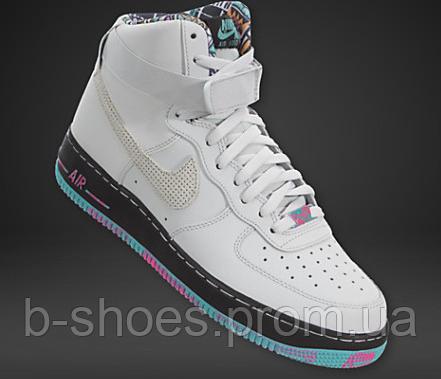 Мужские   повседневные кроссовки Nike Air Force 1  Mid (White/Multicolored)