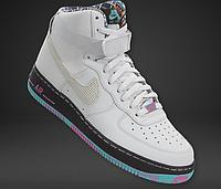 Мужские   повседневные кроссовки Nike Air Force 1  Mid (White/Multicolored), фото 1