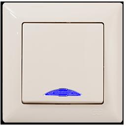 Вимикач одноклавішний кремовий з блакитною підсвіткою GUNSAN VISAGE