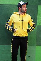 Мужской спортивный костюм  Off white желтый, зебра с капюшоном!