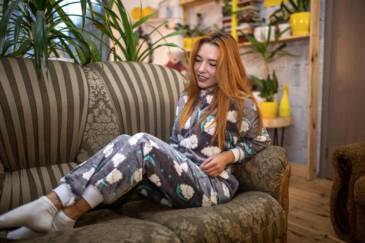Пижама женская махровая комбинезон Сладкие Сны XS-S