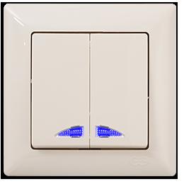 Вимикач двохклавішний кремовый з блакитною підсвіткою GUNSAN VISAGE