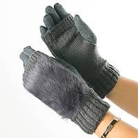 Текстильные женские перчатки-митенки с вязкой и вставкой с искусственного меха (серые)  № 19-F10-3, фото 1