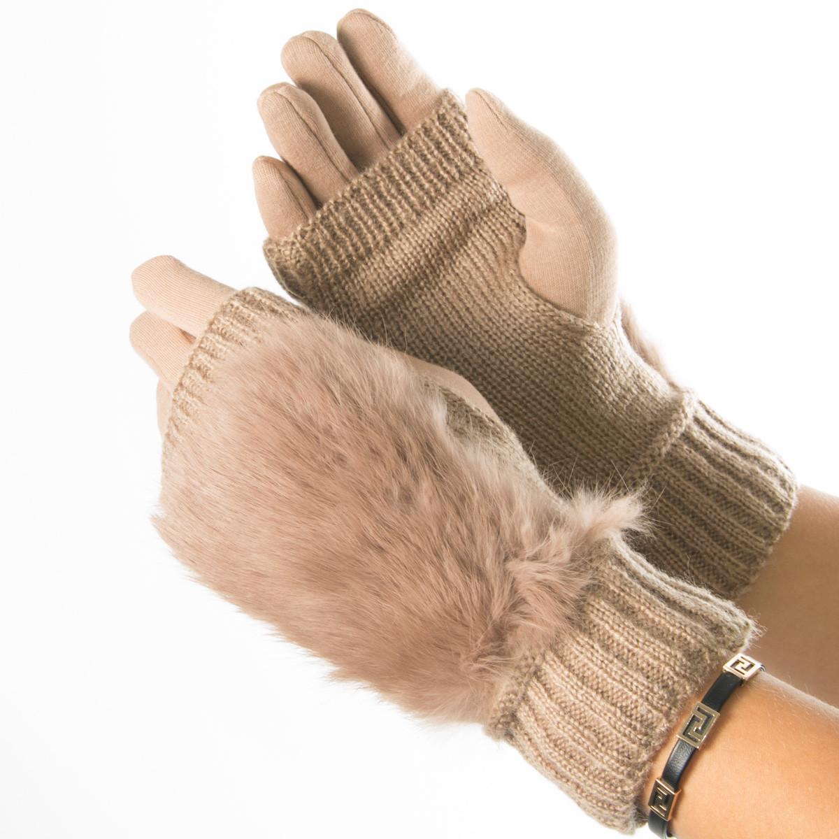 Текстильные женские перчатки-митенки с вязкой и вставкой с искусственного меха (бежевые)  № 19-F10-4
