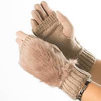 Текстильные женские перчатки-митенки с вязкой и вставкой с искусственного меха (бежевые)  № 19-F10-4, фото 1