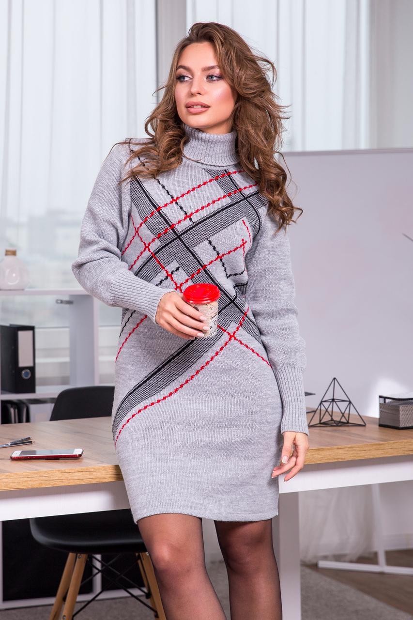 Тепла вязана сукня Клітка (Світло-сірий, чорний, червоний)