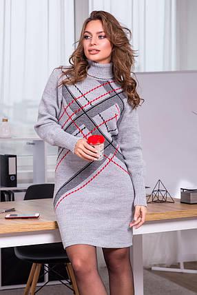 Тепла вязана сукня Клітка (Світло-сірий, чорний, червоний), фото 2