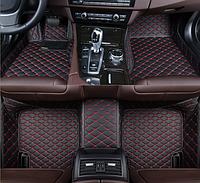 3D коврики 2 в 1 для Mazda CX-7 2006 - 2012 + антигрязь кожаные с бортиками, фото 1