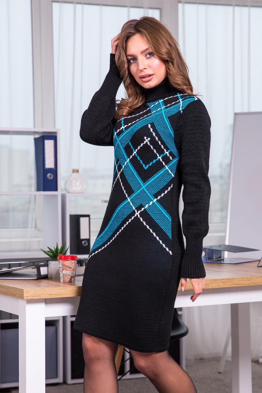 Тепла вязана сукня Клітка (чорний, бірюза, білий)