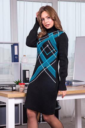 Тепла вязана сукня Клітка (чорний, бірюза, білий), фото 2