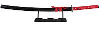 Японская катана самурай красная плетеная рукоять самурайская Katana меч, качественное лезвие + подставка, фото 1
