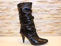 Сапоги женские черные на каблуке натуральная кожа Д56
