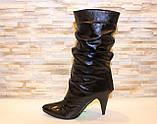 Сапоги женские черные на каблуке натуральная кожа Д56, фото 2