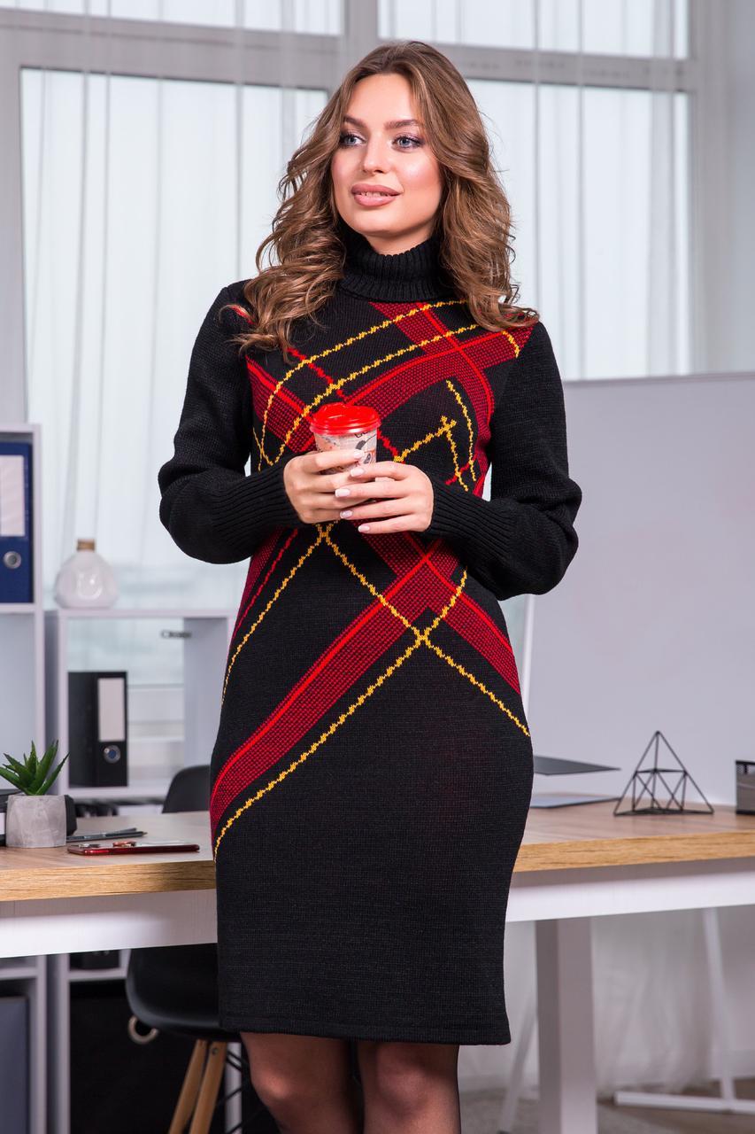 Тепла вязана сукня Клітка (чорний, червоний, гірчиця)