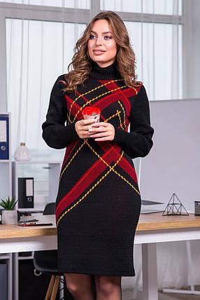 Тепла вязана сукня Клітка (чорний, червоний, гірчиця), фото 2