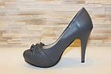 Туфли женские серые на каблуке Т629, фото 2