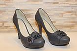 Туфли женские серые на каблуке Т629, фото 3